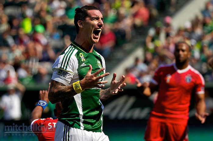 September 7, 2014; Portland, OR, USA; Portland Timbers defender Liam Ridgewell (24) reacts after a shot in the first half at Providence Park. Photo: Craig Mitchelldyer-Portland Timbers (Craig Mitchelldyer)