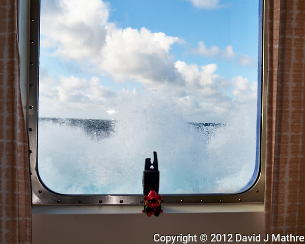 Heavy Seas. Waves breaking up to my cabin window.  Image taken with a Leica X2 camera (ISO 100, 24 mm, f/5, 1/320 sec). (David J Mathre)
