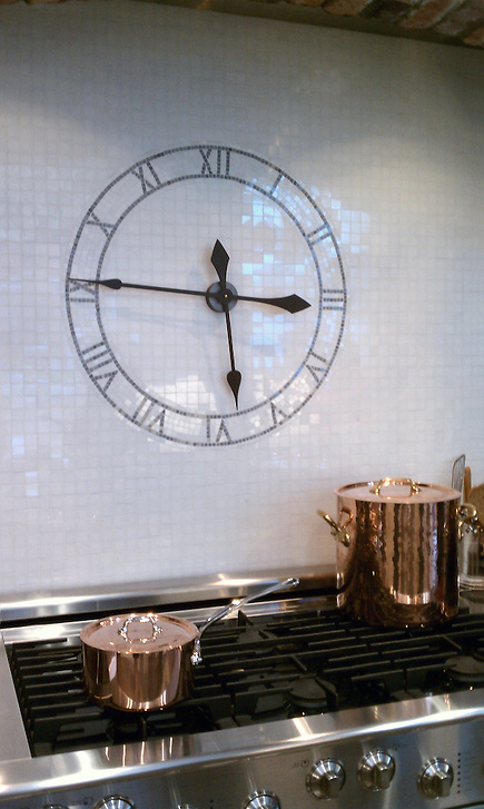 Custom kitchen backsplash clock shown in Thassos and Bardiglio. (New Ravenna Mosaics 2011)