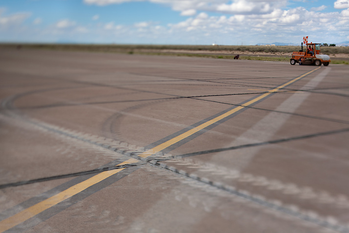 Construction crews at work building new runways at Holloman Air Force Base in Otero County. HAFB received over $21 million to upgrade various facilities as part of the Recovery and Reinvestment Act. (Steven St. John)