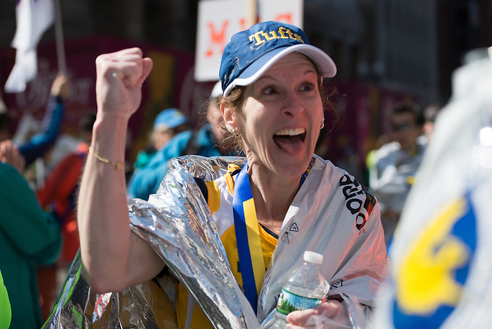 4/18/16 – Boston, MA – Pamela Schroeder walks away from the finish of the 2016 Boston Marathon on April 18, 2016. (Sofie Hecht / The Tufts Daily) (Sofie Hecht / The Tufts Daily)