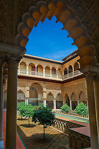 Patio de las Doncellas (Courtyard of the Maidens) an Italian Renaissance courtyard (1540-72) with Arabesque Mudéjar style plaster work, Alcazar of Seville, Seville, Spain (Paul E Williams)