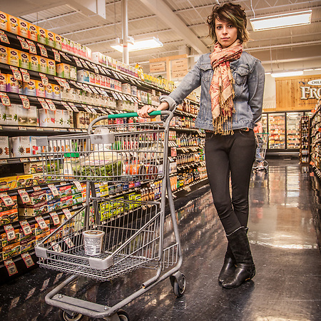 Film/video student Savanah Fitzsimmons at Sprouts Grocery, Edmonds, Oklahoma (Clark James Mishler)