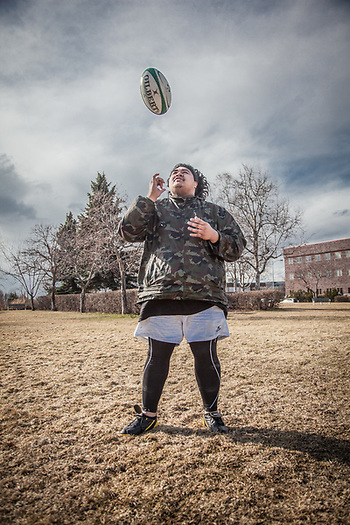 """I am trying to get back into rugby…I feel like I have grown to the size of a four-plex and would like to get back to the size of a duplex!""  -Tobacco shop clerk Teddie Gauta at the west end of the Delaney Park Strip in Anchorage.  theddaeus.gauta@yahoo.com (© Clark James Mishler)"