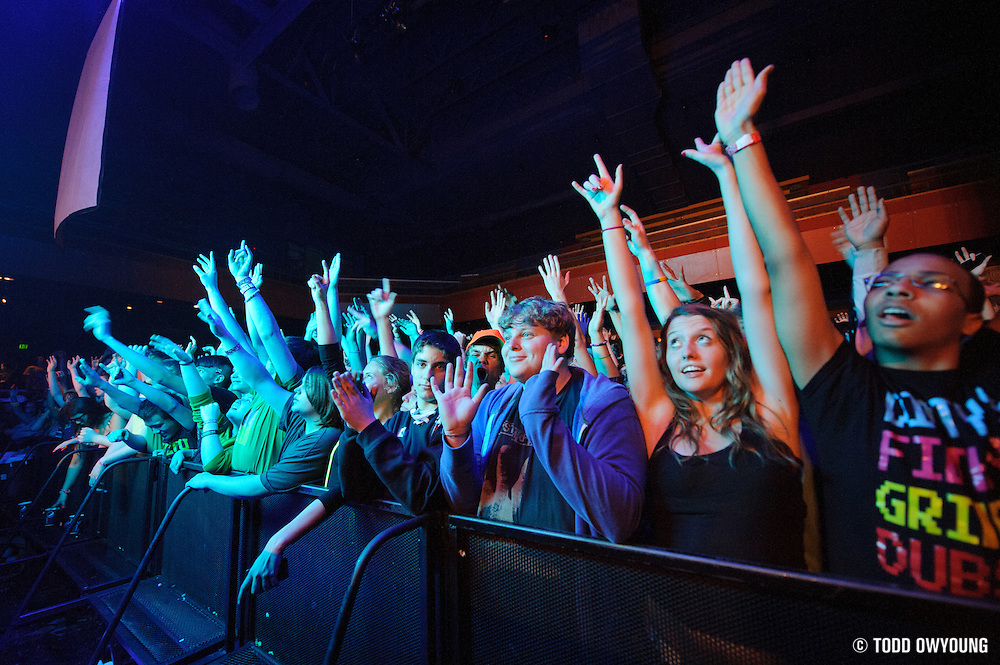 Fans during Steve Aoki's performance at the Pageant in St. Louis on February 1, 2012. (Todd Owyoung)