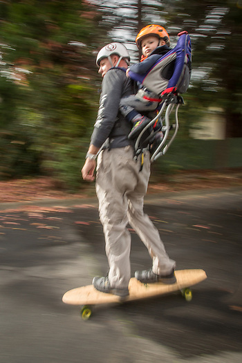 Mathew Gamble out for a skateboard run with son, Noah, on Cedar Street in Calistoga (Clark James Mishler)