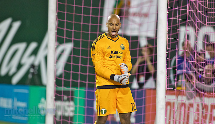 October 29, 2015; Portland, OR, USA; Portland Timbers goalkeeper Adam Kwarasey (12) reacts after making a save in the penalty shootout during the first round of the MLS Cup Playoffs at Providence Park. Photo: Craig Mitchelldyer-Portland Timbers (Craig Mitchelldyer)
