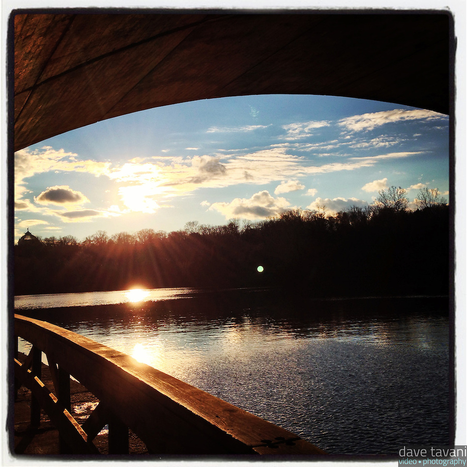 The late afternoon sun reflects off the Schuylkill River as see from underneath the Columbia Bridge along Kelly Drive in Philadelphia December 18, 2012. (Dave Tavani)