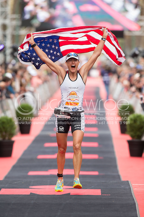 Kim Schwabenbauer (USA), March 23, 2014 - Ironman Triathlon : Ironman Melbourne Race, Run Course Run Course Race Finish, St Kilda, Melbourne, Victoria, Australia. Credit: Lucas Wroe (Lucas Wroe)