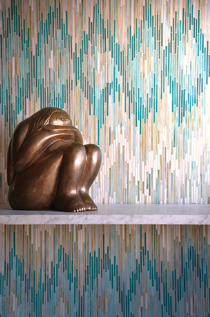 Loom, a jewel glass mosaic shown in Quartz, Aquamarine, Tanzanite and Turquoise, is part of the Ikat Collection by New Ravenna Mosaics. (New Ravenna Mosaics 2011)