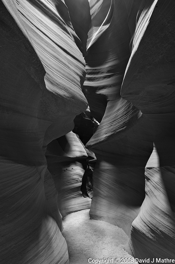 Upper Antelope Canyon, Page Arizona. Image taken with a Nikon D3 camera and 14-24 mm f/2.8 lens (ISO 200, 24 mm, f/16, 15 sec). Image processed with Capture One Pro. Converted to B&W with NIK Silver Efex Pro 2 (David J Mathre)