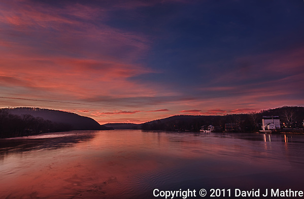 Dawn from the Lambertville - New Hope Bridge over the Delaware River. Image taken with a Nikon D3x and 14-24 mm f/2.8 lens. (ISO 100, 24 mm, f/16). HDR composite from 5 images using Nik HDR Efex Pro. (David J. Mathre)