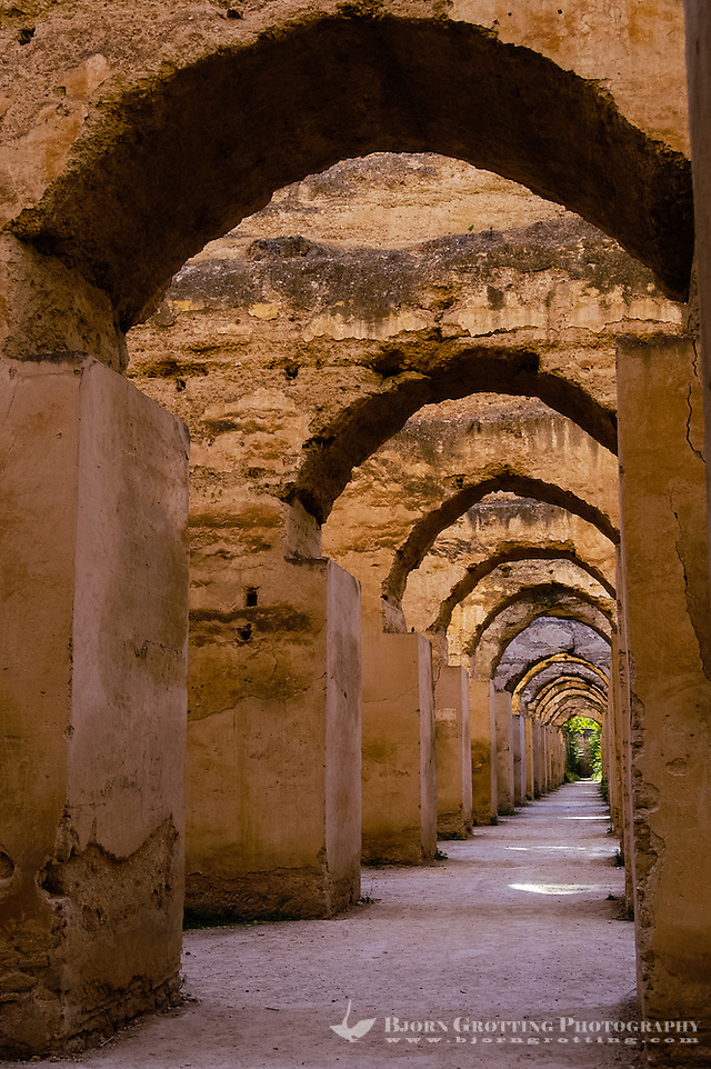 Morocco. Heri es- Souani, the old granary and stables for some of Moulay Ismails 12000 horses in Meknes. (Photo Bjorn Grotting)