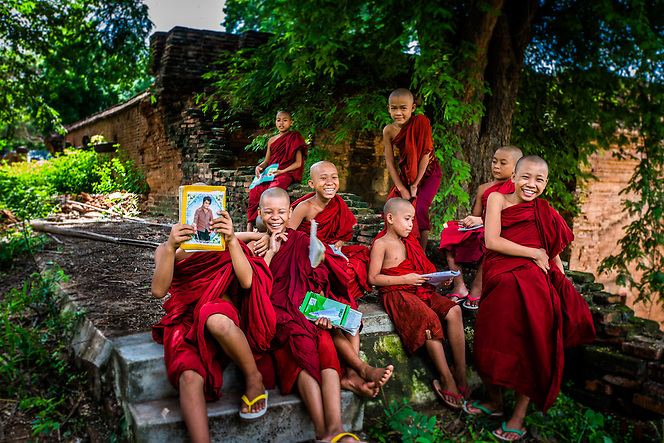 Novice monks on the grounds of their monestary, Bagan, Myanmar (Quinn Ryan Mattingly)