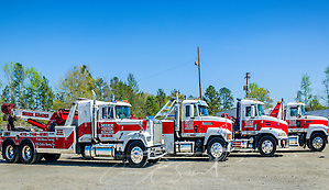 Mack Trucks are pictured at Mike Adams Towing and Air Cushion Recovery, March 22, 2016, in Macon, Georgia. Adams started his business with a 1993 with a 1989 Mack Super-Liner. Today, he owns 27 towing and recovery trucks, nearly a third of which are Macks. His newest acquisition (not pictured) is a 2016 Mack Granite with a 50-ton Century rotator. (Photo by Carmen K. Sisson/Cloudybright) (Carmen K. Sisson/Cloudybright)
