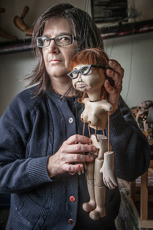 "Tammy Sitar with a puppet crated in her likeness by puppeter Donald ""Buzz"" Schwall, Anchorage. (Clark James Mishler)"