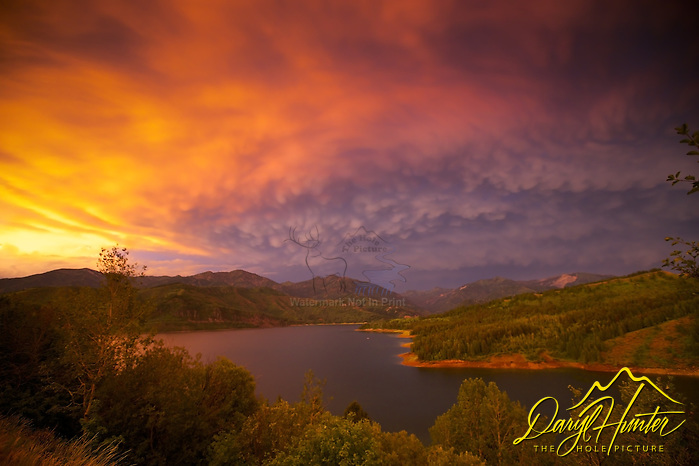 "Thunder Storm sunset, mammatus clouds, Palisades Reservoir, Snake River Range, Swan Valley, Idaho (© Daryl Hunter's ""The Hole Picture""/Daryl L. Hunter)"