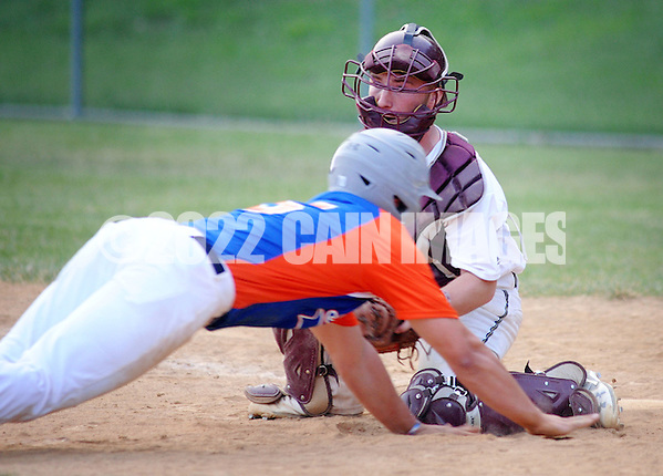Northampton catcher Jack Seibert tags out Upper Moreland's AJ Shapiro in the fourth inning Wednesday, June 15, 2016 in Upper Moreland, Pennsylvania. (Photo by William Thomas Cain) (William Thomas Cain)