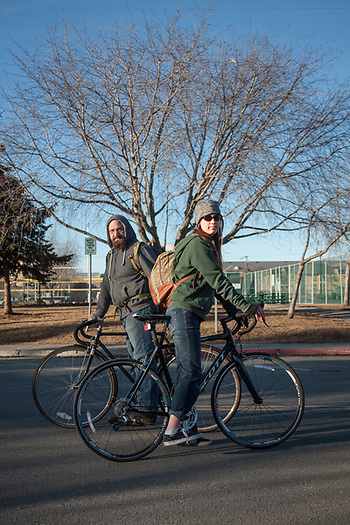 "Wesley Ann Foraker and Tim Hartmann on 10 Avenue and on their way home from a day's work at Title Wave Books in Anchorage.  ""We're getting married in June…our future plans are a bit scattered.""  winterspren@gmail.com (© Clark James Mishler)"