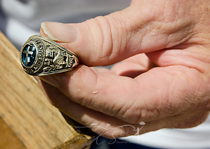 Homeowner Paul Matlock holds his father's 1942 Oklahoma Baptist University class ring, Sept. 6, 2017, in Houston, Texas. Matlock's home was inundated with more than six feet of water when Hurricane Harvey dumped more than 51 inches of rainfall in mid-August. Matlock, along with volunteers from Southern Baptist Disaster Relief, scoured the home, searching for the ring. (Photo by Carmen K. Sisson (Carmen K. Sisson/Cloudybright)