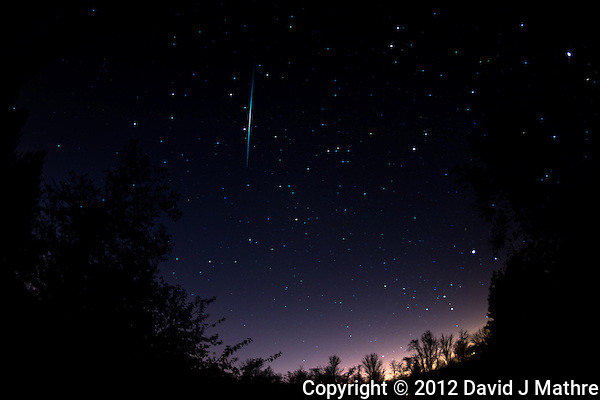 Late Fall Night Sky and Leonid Meteors Trail over New Jersey. Images taken with a Nikon D800 and 16 mm f/2.8 fisheye lens (ISO 100, 16 mm, f/2.8, 1 min). (David J. Mathre)