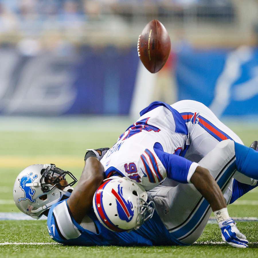 Buffalo Bills cornerback Merrill Noel (46) tackles Detroit Lions wide receiver Jeremy Ross (12) cuasing a fumble in the first half of an preseason NFL football game at Ford Field in Detroit, Thursday, Sept. 3, 2015. (AP Photo/Rick Osentoski) (Rick Osentoski/AP)
