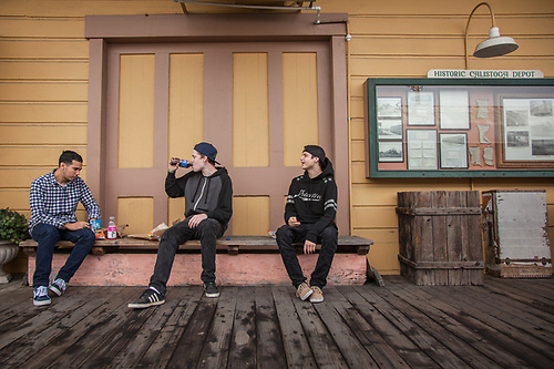 Twenty somethings: Francisco Alfaro, Luke Morgan and Dylan Gerttula take a lunch break at the historic Train Station building in Calistoga. (Clark James Mishler)