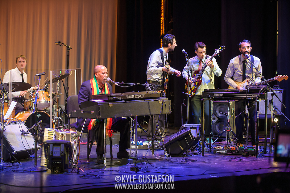 WASHINGTON, DC - February 11th, 2014 - Hailu Mergia (second from left) performs on the Millennium Stage at the Kennedy Center. Mergia, a star of Ethiopian music in the 1970s as a member of the Walias Band, now drives a cab in Washington, D.C. (Photo by Kyle Gustafson / For The Washington Post) (Kyle Gustafson/For The Washington Post)