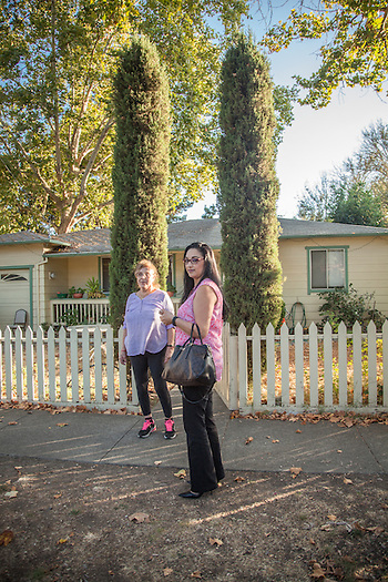 "Maria Hernandez and her daughter, Aly, in front of their home in Calistoga  ""I want to see more affordable housing in Calistoga...especially for seniors like my mom.""  -Aly Hdrnandez (Clark James Mishler)"