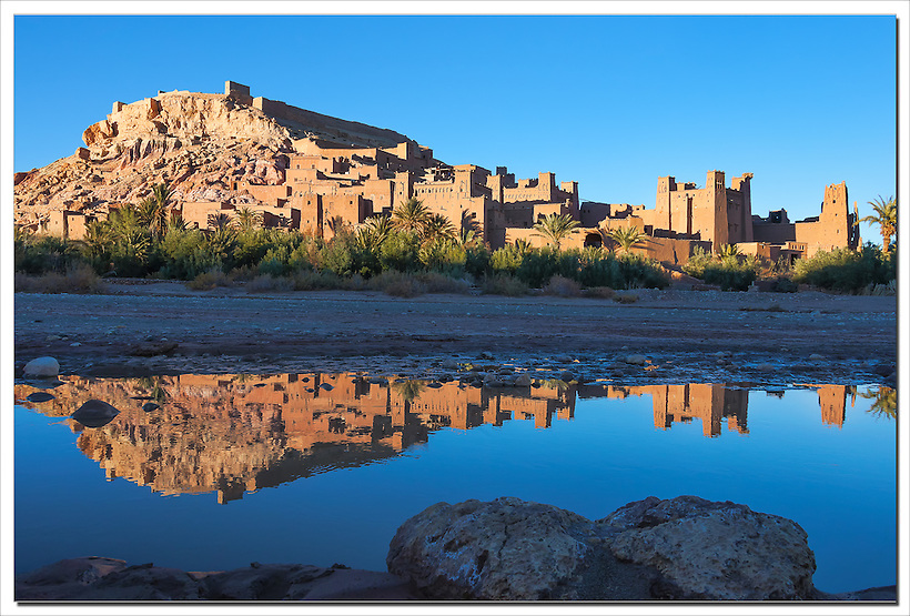 Kasbah Ait Ben Haddou with reflection in the river, UNESCO World Heritage site, Morocco. (Rosa Frei)
