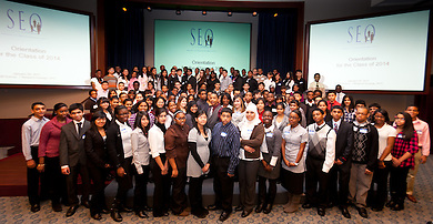 SEO Scholars Program Orientation for the Class of 2014 at Credit Suisse on January 29, 2011. Students and their parents receive an overview of the program expectations from the students, parents and SEO. (Jeffrey Holmes/JeffreyHolmes.com)