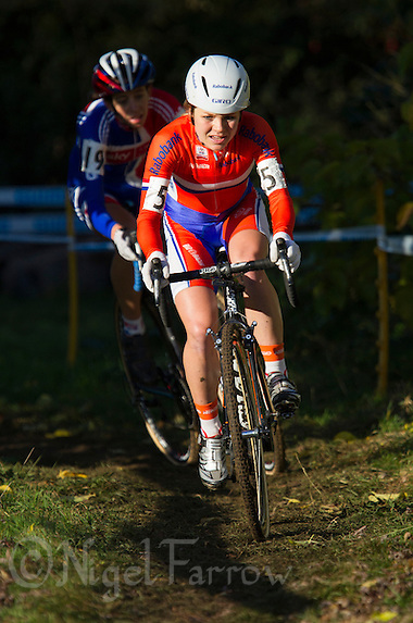 03 NOV 2012 - IPSWICH, GBR - Sanne van Paassen (NED) (right) of the Netherlands leads Helen Wyman (GBR) (left) of Great Britain during the Elite Women's European Cyclo-Cross Championships in Chantry Park, Ipswich, Suffolk, Great Britain .(PHOTO (C) 2012 NIGEL FARROW) (NIGEL FARROW/(C) 2012 NIGEL FARROW)