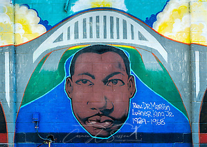 "A mural featuring Dr. Martin Luther King Jr. is painted on a building at Civil Rights Memorial Park, Feb. 7, 2015, in Selma, Alabama. The park was established in 2001 and includes murals and plaques honoring those who led the Civil Rights movement in Selma in the 1960's. The mural was part of the ""Liberation Summer Project"" in 1999. (Photo by Carmen K. Sisson/Cloudybright) (Carmen K. Sisson/Cloudybright)"