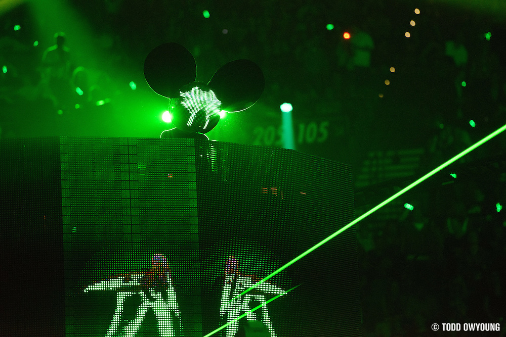 Electronc dance music producer Deadmau5 performing at the iHeartRadio Music Festival in Las Vegas, Nevada on September 22, 2012. (Todd Owyoung)