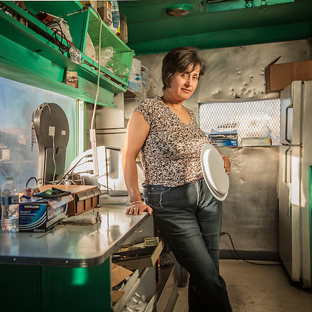 "Olivia Barajas, owner of Benny's Food Wagon, mid-town Anchorage.  ""Someday I would like to move back to Mexico but the crime is too high.""   blackrose_249@hotmail.com (© Clark James Mishler)"