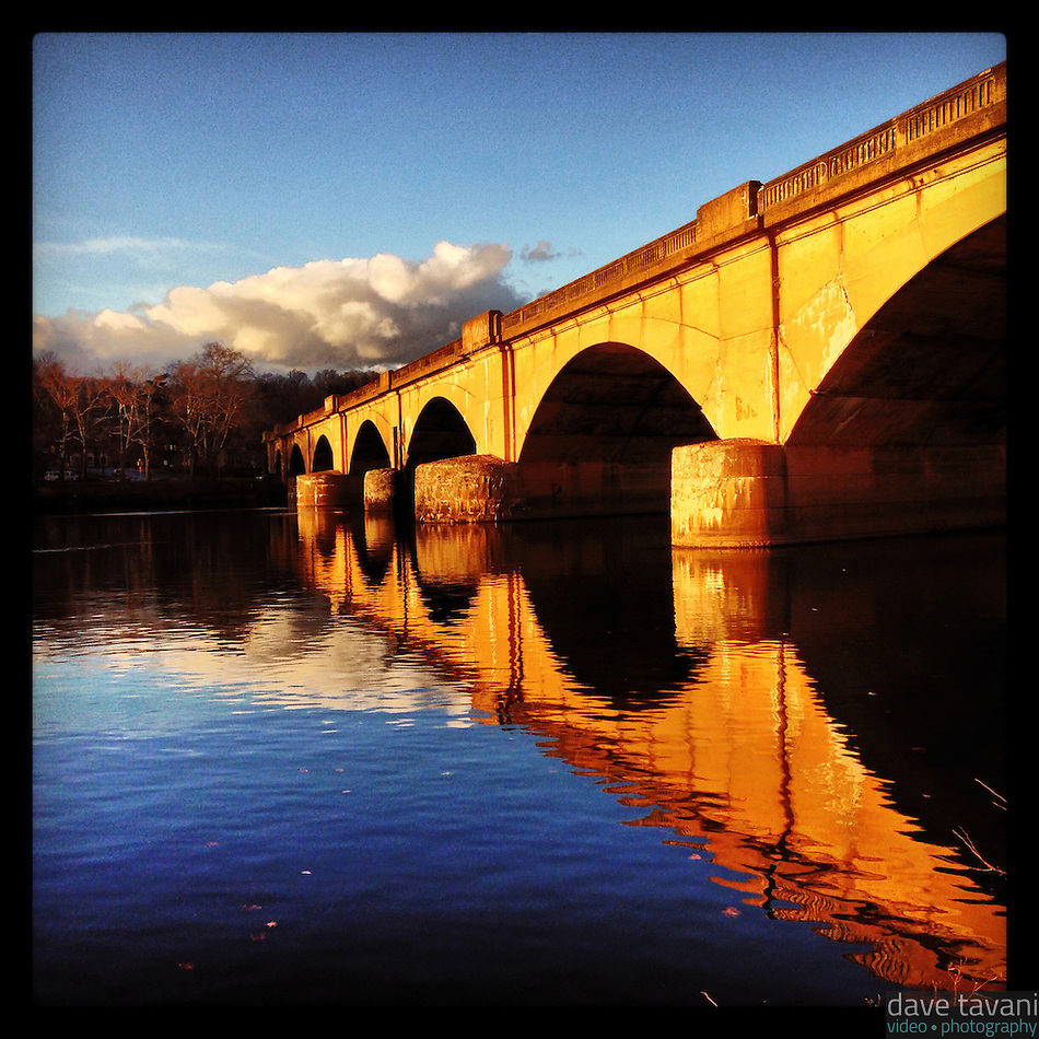 The Columbia Bridge reflects in the Schuylkill River along Kelly Drive in Philadelphia December 18, 2012. (Dave Tavani)