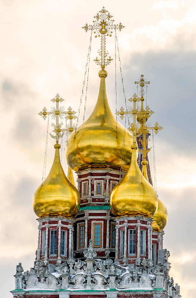 View of cupolas of the Church of Christ's Resurrection, in Kadashi Sloboda, Moscow (Daniel Korzeniewski)