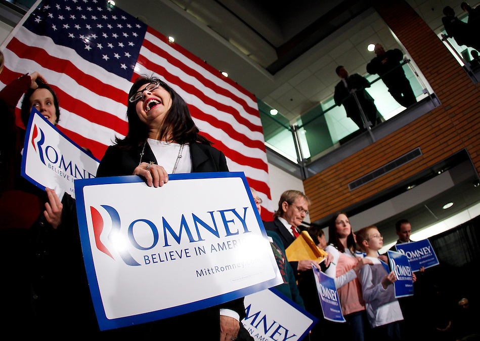 Gov. Mitt Romney supporter Margo Nahas of Adel, Iowa waits for the arrival of New Jersey Gov. Chris Christie at the outset of a rally in support of Gov. Mitt Romney Wednesday evening, December 7, 2011 in West Des Moines, Iowa. (Christopher Gannon/MCT) (Christopher Gannon)