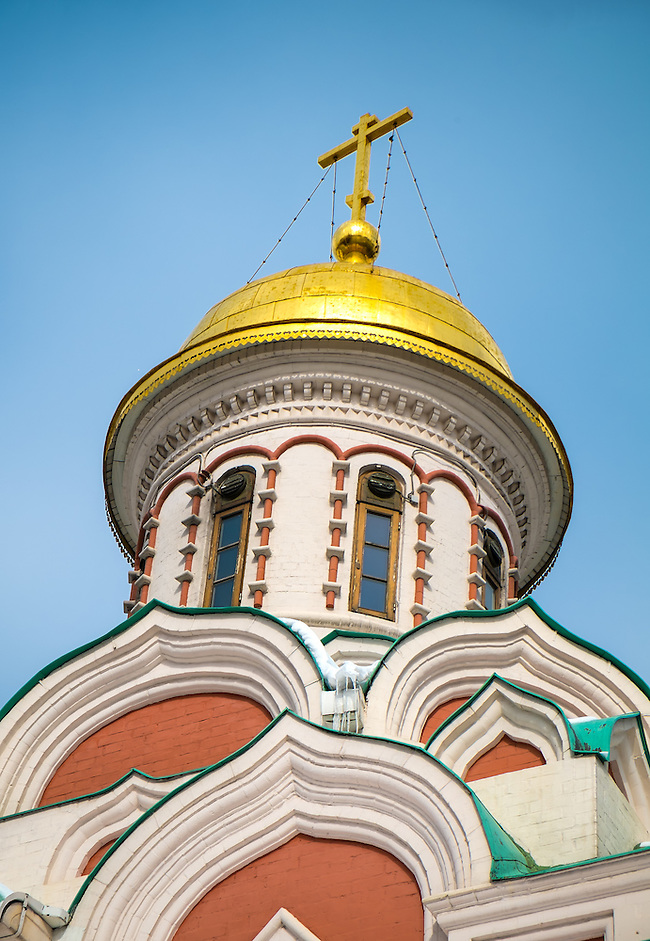 Detail of the dome of the Kazan Cathedral located in the Red Square in Moscow, Russia. (Daniel Korzeniewski)
