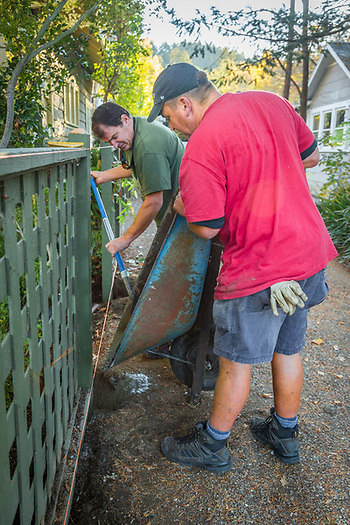 """I work for ten different wineries...I do all sorts of project...including fence repairs.  I do something new every day.""  Mike McCay changes fence posts with his assistant, Craig Thompson, at a winery property on Cedar Street in Calistoga (Clark James Mishler)"