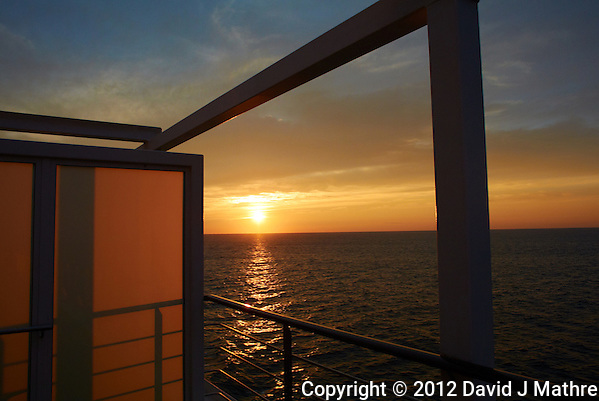 Sunset Day 1 Fall Semester at Sea Voyage from Deck 7 of the M/V Explorer in the Atlantic Ocean. Image taken with a Nikon 1 V1 camera and 10 mm f/2.8 lens (ISO 100, 10 mm, f/4.5, 1/500 sec). (David J Mathre)