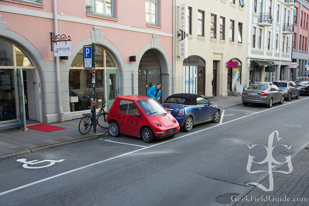 That is a Buddy Electric car. http://www.buddyelectric.com/ Yes, they're very, very small. (Warren Schultz)