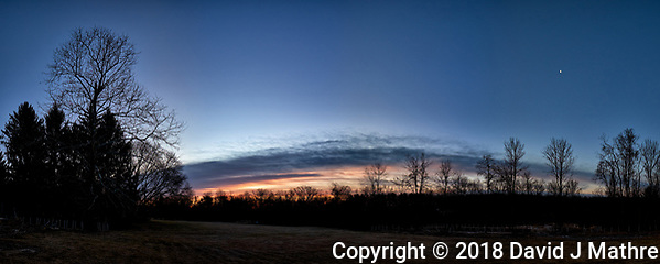Backyard winter dawn panorama with the last quarter moon. Composite of 10 images taken with a Fuji X-T1 camera and 16 mm f/1.4 lens (ISO 200, 16 mm, f/8, 1/60 sec). Raw images processed with Capture One Pro and AutoPano Giga Pro. (David J Mathre)