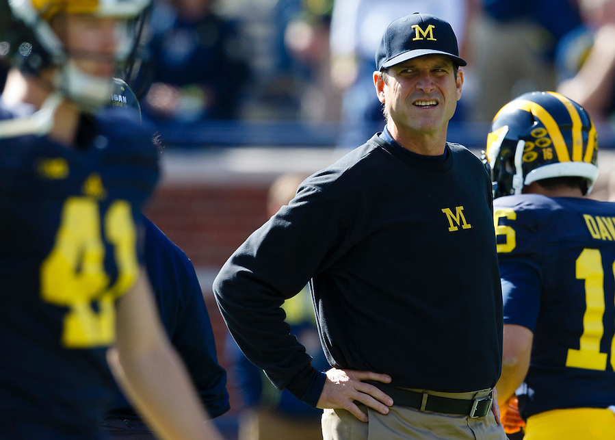 Oct 10, 2015; Ann Arbor, MI, USA; Michigan Wolverines head coach Jim Harbaugh prior to the game against the Northwestern Wildcats at Michigan Stadium. Mandatory Credit: Rick Osentoski-USA TODAY Sports (Rick Osentoski/Rick Osentoski-USA TODAY Sports)