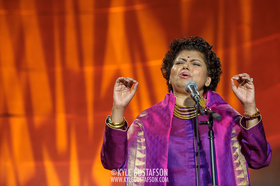 """WASHINGTON, DC - October 17th, 2013 - Chandrika Tandon performs at the """"Some Enchanted Evening"""" gala at at the Andrew W. Mellon Auditorium. The gala is a celebration for  """"Yoga: The Art of Transformation,"""" the world's first exhibition on the art of yoga at the Arthur M. Sackler Gallery. (Photo by Kyle Gustafson) (Kyle Gustafson/Photo by Kyle Gustafson)"""