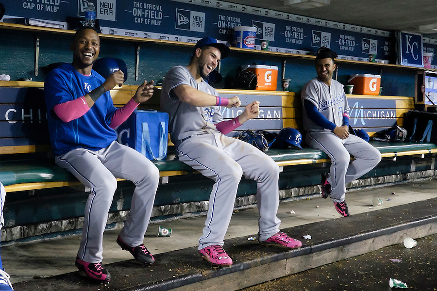 May 10, 2015; Detroit, MI, USA; Kansas City Royals right fielder Jarrod Dyson (1) first baseman Eric Hosmer (35) and third baseman Christian Colon (24) have fun in the dugout during a rain delay in the ninth inning against the Detroit Tigers at Comerica Park. Mandatory Credit: Rick Osentoski-USA TODAY Sports (Rick Osentoski/Rick Osentoski-USA TODAY Sports)