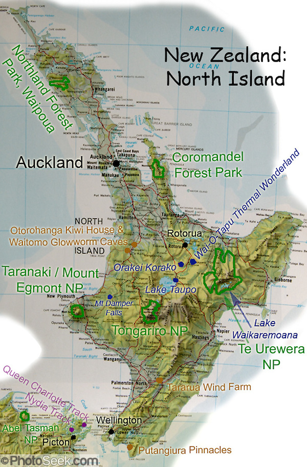 A map of North Island, New Zealand, suggests favorite parks and sights. (Tom Dempsey)