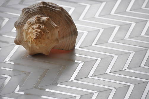 Raj shown in Paperwhite honed, Cloud Nine polished. Interior Design Magazine Best of Year Award winner. (New Ravenna Mosaics 2010)