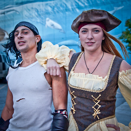 Pirates, Victor and Terra, during the Pirate Pub Crawl, Downtown Anchorage. (Clark James Mishler)