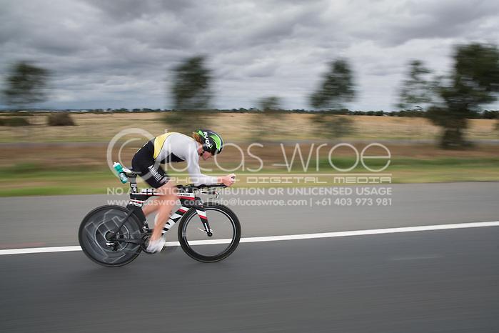 David Dellow (AUS), March 23, 2014 - Ironman Triathlon : Bike Course. Ironman Melbourne Race, Bike Cycle Course Between Frankston And Ringwood Tunnel, Melbourne, Victoria, Australia. Credit: Lucas Wroe (Lucas Wroe)